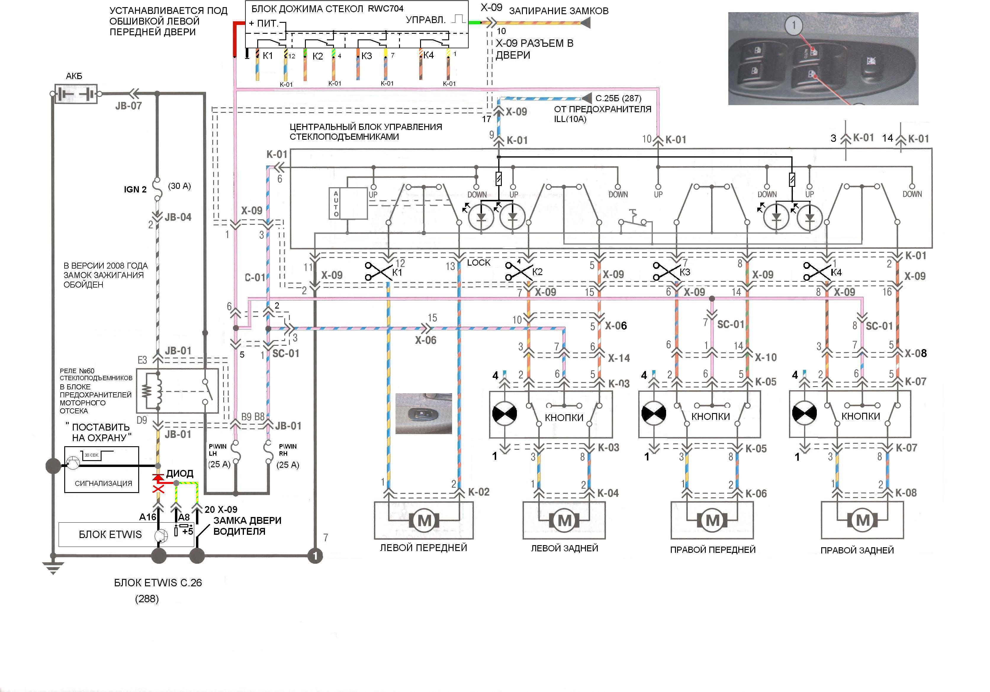 Схема автоматического доводчика стекол
